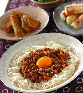 ジャージャー風素麺の献立