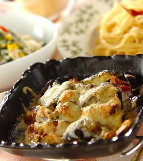 カボチャとソーセージのチーズ焼きの献立