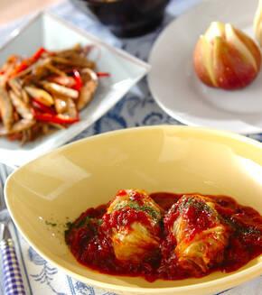 トマト味のロールキャベツの献立