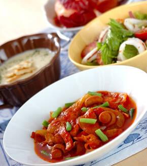 チキンのトマト煮の献立