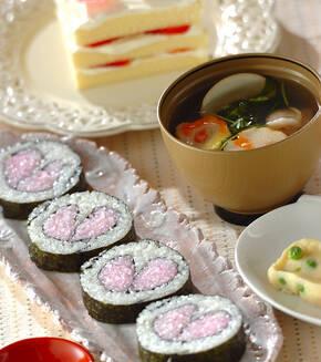 ハートの巻き寿司の献立