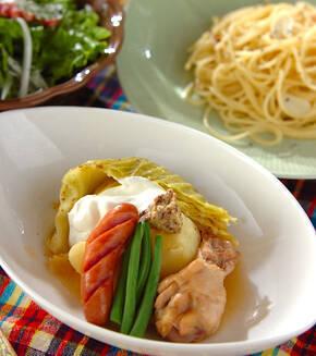 ゴロゴロ野菜のスープ煮の献立