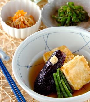 野菜添え揚げ出し豆腐の献立