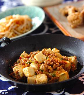 豆腐とひき肉のピリ辛炒めの献立