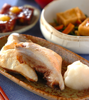 魚のカマのシンプル塩焼きの献立