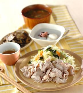 ゆで豚と野菜のサラダ仕立ての献立