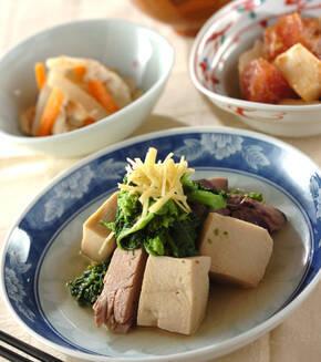 高野豆腐と菜の花の煮物の献立
