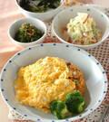 「卵のせエンドウ豆入りオムライス」の献立