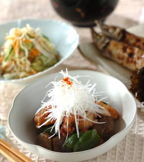 鶏肉と板コンの炒め煮の献立
