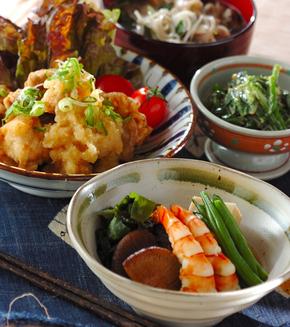 高野豆腐とエビの煮物の献立