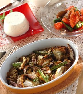 イカと野菜のオーブン焼きの献立