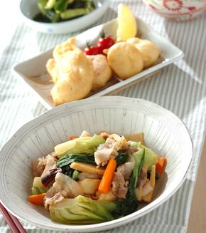 豚肉とチンゲンサイの中華炒めの献立