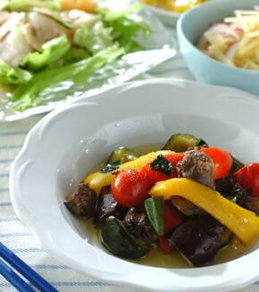 レバーと野菜のオイル煮の献立