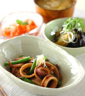 イカと焼き豆腐のショウガ煮の献立