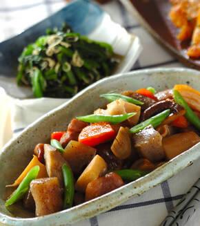 鶏もも肉とたっぷり根菜の煮物の献立