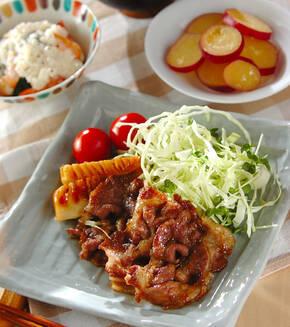 豚肉とタケノコのショウガ焼きの献立