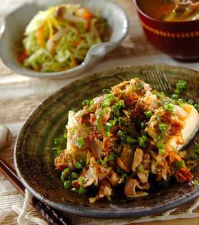 豆腐と豚肉の炒め物の献立