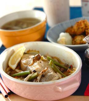 白菜と魚の蒸し焼きの献立