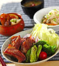 「梅風味の豚バラ肉焼き」の献立