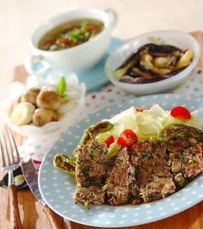 牛ひき肉のフライパン焼きの献立