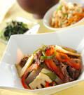 「牛肉と野菜のソース炒め」の献立