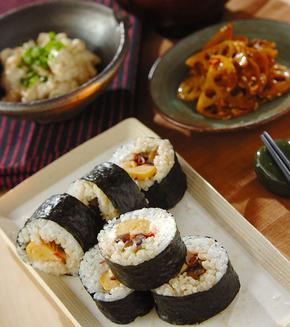 カンピョウの巻き寿司の献立