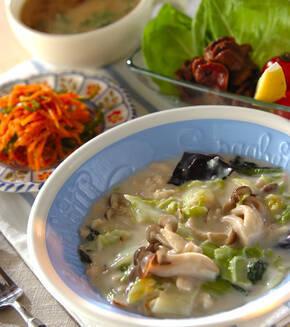 白菜とホタテのクリーム煮の献立