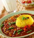 「野菜と豆のカレー」の献立