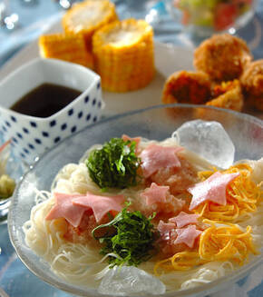 梅おろしのせ七夕素麺の献立