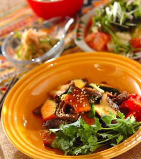 牛肉とカボチャのピリ辛炒めの献立