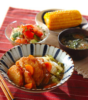揚げ天と白菜のくったり煮の献立