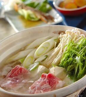 手作りポン酢とたっぷり薬味の豚しゃぶ鍋の献立