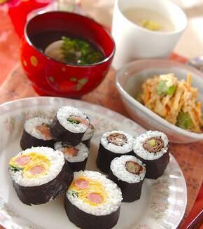 いろいろ巻き寿司の献立