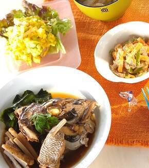 鯛のアラ炊きの献立