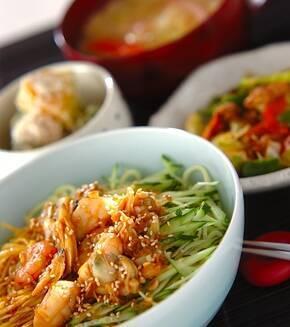 海鮮冷麺の献立