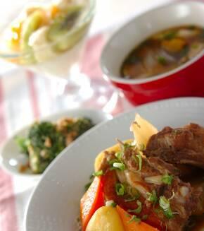 スペアリブの煮物の献立