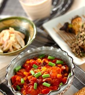 揚げ餅のトマト煮の献立