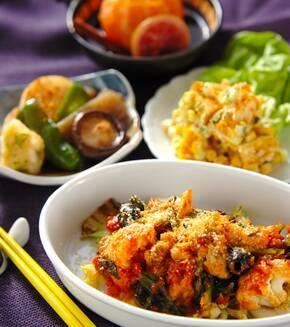 カキと菊菜のアラビアータの献立