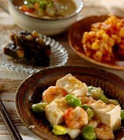 エビと豆腐の塩炒め