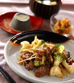 牛肉と野菜の炒め物の献立