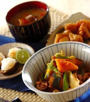 豚肉とカボチャの煮物の献立