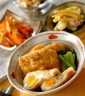 卵とジャガイモの袋煮の献立