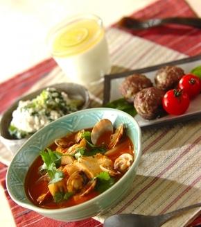 アサリと豆腐のチゲの献立