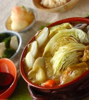 鶏肉のカレー豆乳鍋の献立
