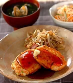 鮭と豆腐のハンバーグの献立