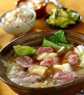 豚肉と白菜のチーズ鍋の献立