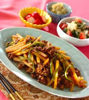 牛肉とジャガイモの中華炒めの献立