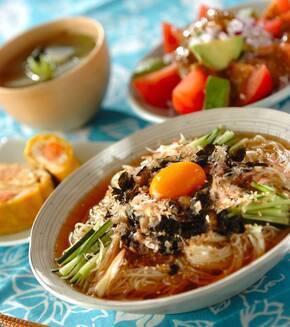 冷やし納豆素麺の献立