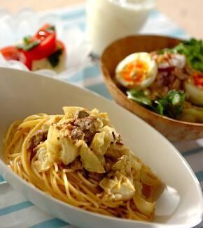 ひき肉とキャベツのカレークリームスパゲティーの献立