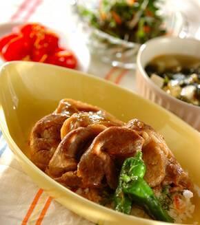 ミョウガの甘酢ご飯で焼き肉丼の献立